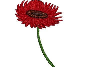 ID #6693 Red Posy Stem Flower Plant Iron On Embroidered Patch Applique