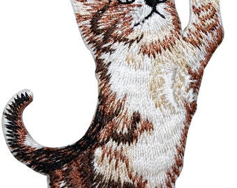 ID #2901 Tabby Kitty Cat Pet Kitten Animal Embroidered Iron On Badge Applique Patch