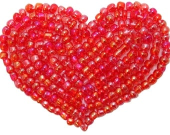 ID 3648 Beaded Heart Patch Valentine's Day Love Symbol Craft Iron On Applique