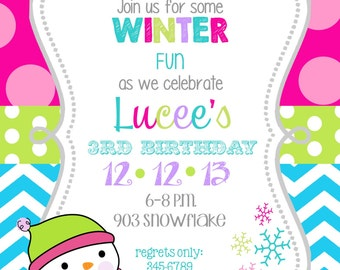 12   Winter wonderland Christmas Holiday  Birthday Party Invitations with envelopes -snowflake-snowman- snow girl