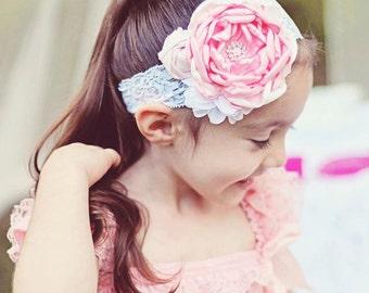 Girl Couture Headband..Baby Girl Headband..Pink White Headband..Girl Bow Headband..Couture