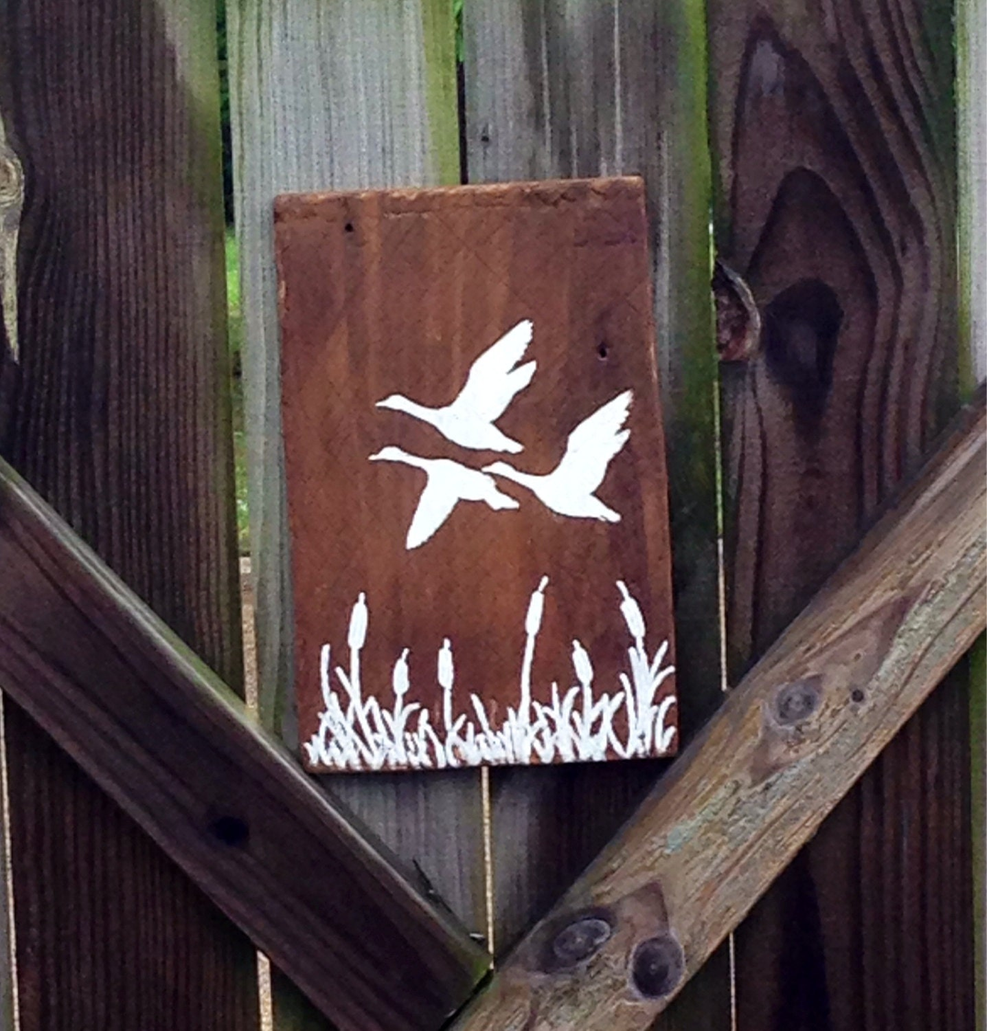 Rustic Flying Ducks Silhouette Wood Sign