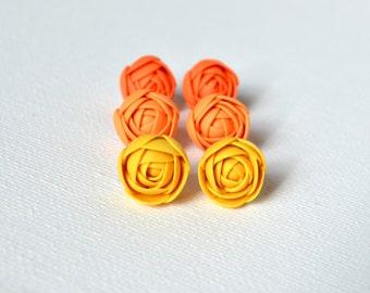 Yellow Ranunculus Stud Earrings, Ranunculus Earrings, Yellow Flower Earrings, Summer Earrings, Ranunculus Jewelry