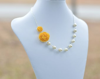FREE EARRINGS Yellow Ranunculus and Ivory Pearls Necklace and free matching pearls.