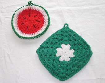Set of 2 Vintage Handmade Pot Holders Watermelon & Green with White Flower FREE SHIPPING