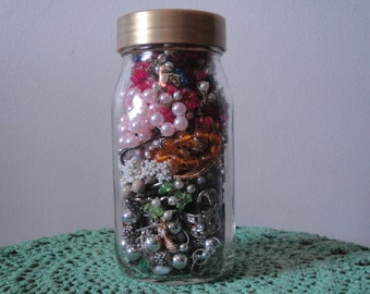 Vintage Broken Jewelry Pieces in a Jar