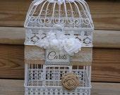 White Birdcage Card Holder