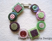 Upcycled Button Bracelet with Polymer Clay Tiles, Pink Green Purple, Vintage Buttons, Mixed Media