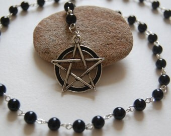 Black Agate Witches'/Witch's Ladder/Prayer Beads/Necklace. Pagan, Druid, Wicca, Witch, Ceridwen, Arianrhod, Hecate, Gwydion.