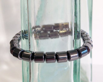 Magnetic hematite bracelet - 6mm drum beads - custom sized