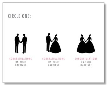 AWESOME WEDDING Card for Straight, Gay, and Lesbian Couples. Marriage Equality Card. Funny Wedding Card. Handmade