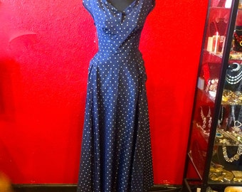 1940s Navy Dot Taffeta Old Hollywood Gown Medium