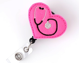 Hot Pink RN Stethoscope - Felt Badge Reels - Cute Badge Reels - Retractable ID Badge Clips - Nurse Gifts - RN Badge Holders - BadgeBlooms