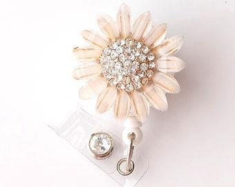 Gold Sunflower Bling - Pretty Badge Holder - Bling Badge Reel - Stylish ID Badge Clip - Nurse Jewelry - Teacher Gift - RN Badge BadgeBlooms