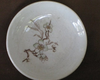 4 Transferware Ironstone China Butter Pats - Brown White Floral Blossom Dish - Antique Vintage Housewares Decor