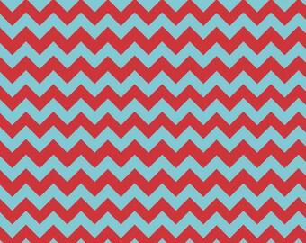 Small Chevron Aqua/Red - 1 Yard Cut - Riley Blake Designs - Chevron Fabric - Cotton Fabric