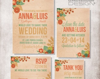 Wedding flowers Invitation DIY Printable, FILE ONLY