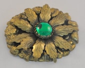 Antique Victorian Brooch with Czech Glass Cabochon - Huge