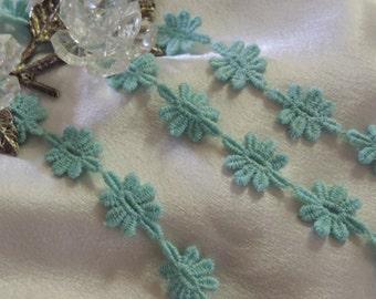 """1 Yd 3/4"""" Wide Gorgeous Vintage Victorian French Venise Turquoise Lace (Aqua)/ Applique/Dolls/Embellishment/Garment Trim"""