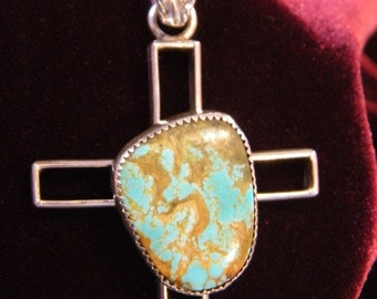 Sterling Silver cross pendant with beautiful matrix turquoise stone