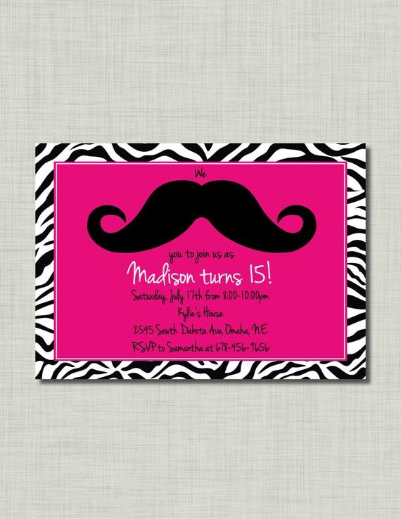 Moustache zebra invitation anniversaire fille par busychickadees - Anniversaire ado fille ...