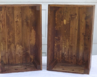 Set of 2 Reclaimed Wooden Storage Crates With English Chestnut Finish, Toy Storage, Home Decor, Pallet Furniture