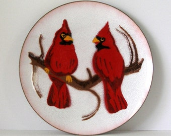 60s Annemarie Davidson Copper Enamel  Dish 2 Red Cardinals Mid Century Nature Series Signed Art