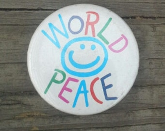 "Retro '80s Unworn  ""World Peace"" Pinback Button"