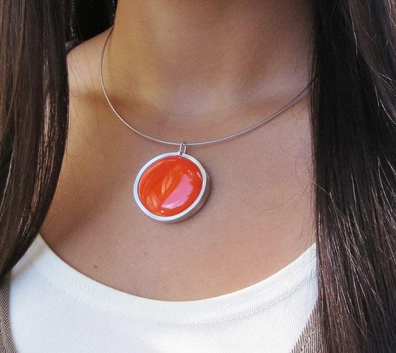 Orange Necklace - glass jewelry - necklace pendant - bold jewelry - neon 025