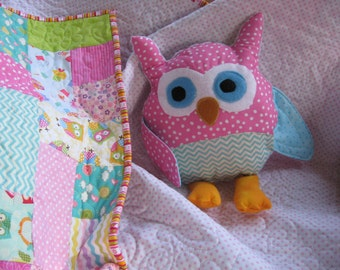 Custom plush owl pillow toy to match your scrappy owl baby quilt from this shop, add on to quilt order