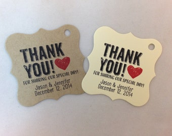 Wedding Gift Tags - Thank You - Wedding Favor Tags - Customizable Personalized (WT1416)