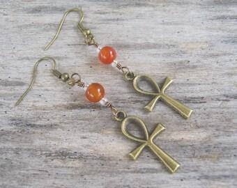 Carnelian Ankh Earrings, Bronze Egyptian Earrings, Hieroglyph Earrings, Ankh Jewelry, Boho Earrings, Bronze & Orange Fiery Earrings