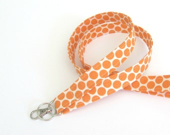 Tangerine Orange ID Lanyard Badge Holder, Keychain, Polka Dot Fabric, Teacher Lanyard