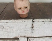 Vintage Doll Head only Maker unknown Eyes open and close Altered art destash found objects creepy Halloween steam punk DIY Prop