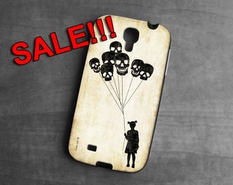 SALE, Samsung Galaxy 4s case, girl with skull balloons ,Galaxy case,skull, Phone Cases, Phone Covers, case for Samsung
