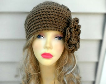 Womens Hat Crochet Hat Winter Hat Brown Beanie Fashion Accessories