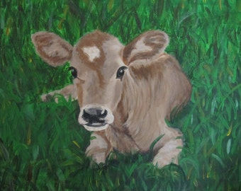 An original acrylic painting of a young calf, resting in a green field waiting for her mother.