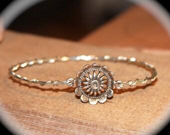 Sunflower Bangle Bracelets, wirewrapped.net, Flower Bangle, Silver Bangle, Customer Bangle, Bracelet