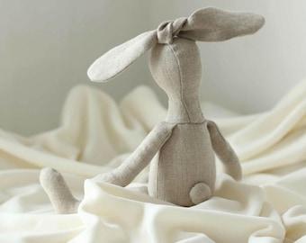 Natural linen Bunny Stuffed Small Rabbit Doll  Made from an original Ribizli Design Pattern
