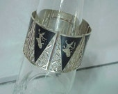 Wide Sterling Bracelet Cuff-Sterling Silver Niello  c1930