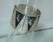 Wide Sterling Bracelet Cuff-Sterling Silver Niello  c1930
