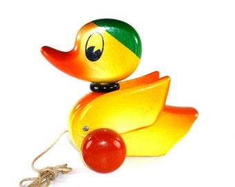 Vintage Kouvalias Duck Pull Toy Wood Rare