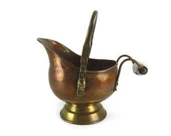 Copper and Brass Coal Scuttle with a Delft Handle
