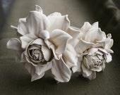 Ivory Leather Roses Headband