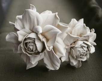Ivory Leather Roses Headband (Express shipping)