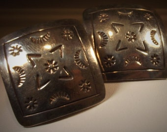 Earrings Sterling Taxco Mexico Hallmarked Huge Squares Native American Design Big Bold Chunky Pierced