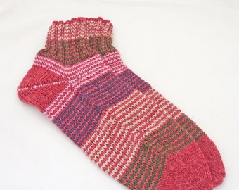 Hand Knitted Woman Socks, Stripped Woman Socks, Burgundy Women Socks, UK Seller
