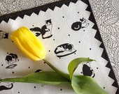 Black and White Cat Tea Towel Printed on Linen Cotton Blend