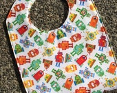 Water Resistant PUL TODDLER Bib: Multi-colored Robots on White