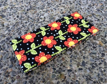 Magic Wallet - Flowers on Black with Polka Dot